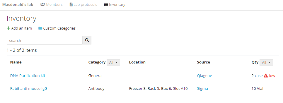 Mylab inventory management - view and search