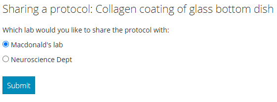 Mylab lab protocol management - share with a lab